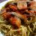 Spaghete tricolore cu ciuperci fripte