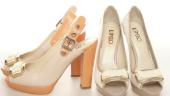Pantofi cu toc portocaliu
