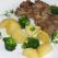 Ceafa de porc la tava cu broccoli si cartofi:
