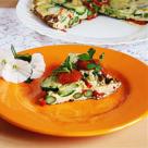 Omleta cu zucchini, sparanghel si ardei