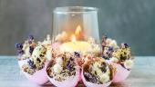 Decoratiune de Pasti din coji de oua, planta decorativa Tillandsia si matisori