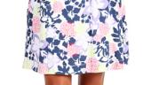 Fusta clos alba cu imprimeu albastru cerneala ca de portelan Carve Designs Breezy Beach Skirt