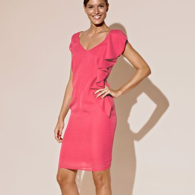 Rochie cu volane roz