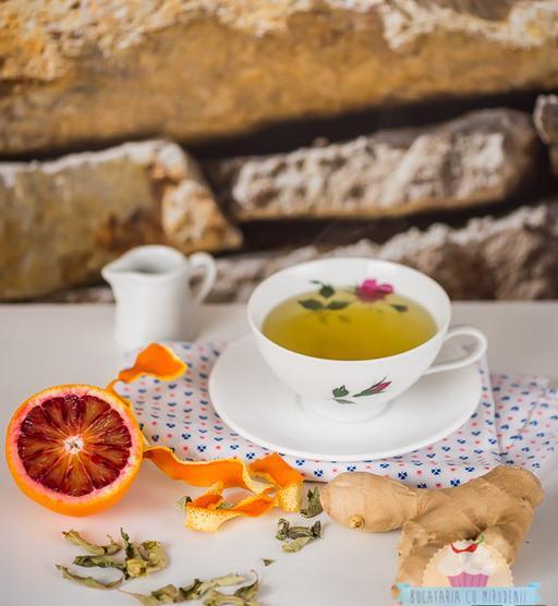 Ceai cu coji de portocale, ghimbir si frunze de lime