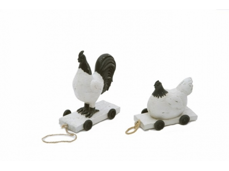 Set 2 piese - Rustic Hen & Rooster