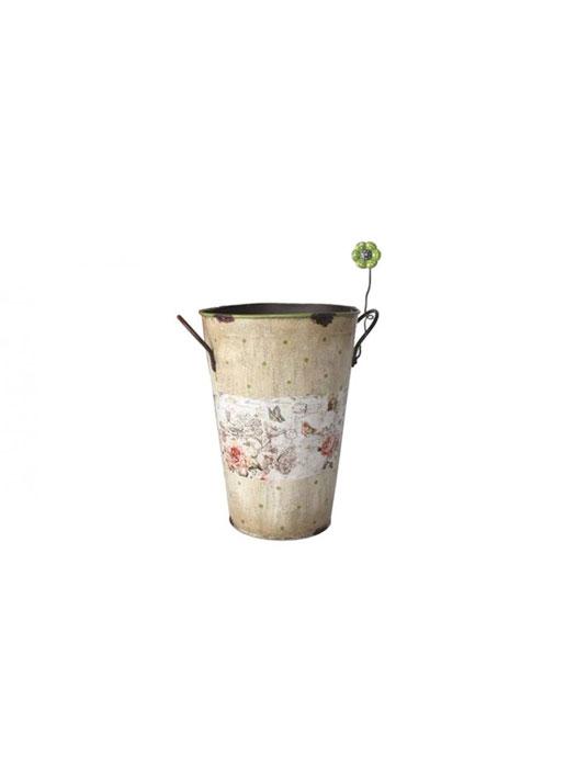 Ghiveci inalt crem din metal Floare