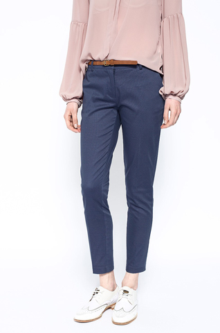 Pantaloni office albastri texturati