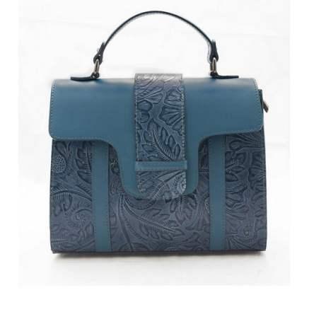 Geanta albastra, cu imprimeu