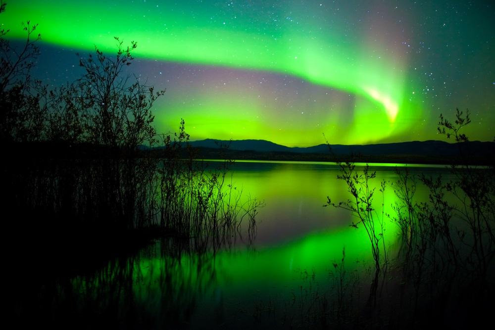 Luminile intense ale Aurorei Boreale deasupra Lacului Laberge