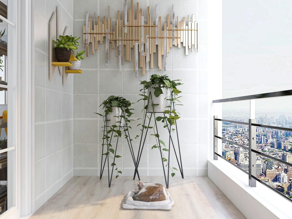 Look contemporan: Suporturi de perete cu ghivece si suporturi cu picioare asimetrice pentru ghivecele cu iedera