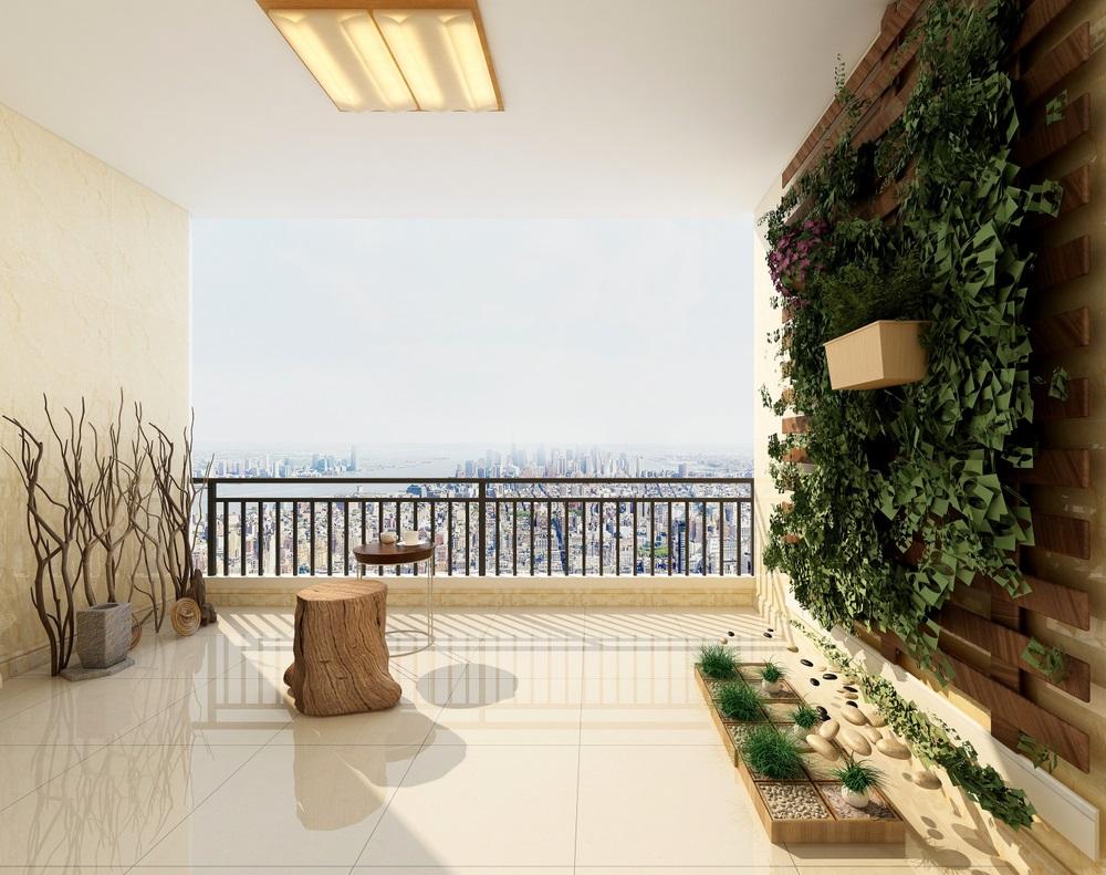 Peretele viu, cu verdeata, din balconul minimalist, inspirat de natura