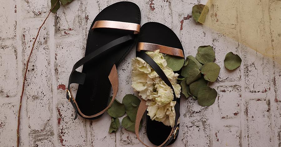Sandale elegante din piele naturală, cu talpă joasă: negru si bronz