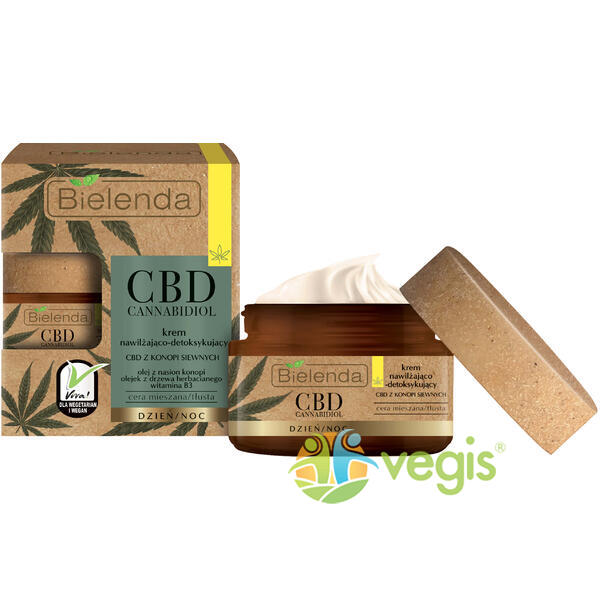 CBD CANNABIDIOL Crema de Fata Hidratanta si Detoxifianta cu Canabidiol CBD din Seminte de Canepa pentru Ten Mixt si Gras 50ml BIELENDA