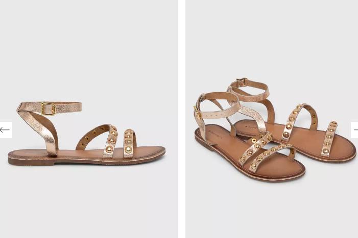Sandale aurii din piele naturală accesorizate cu capse metalice aurii