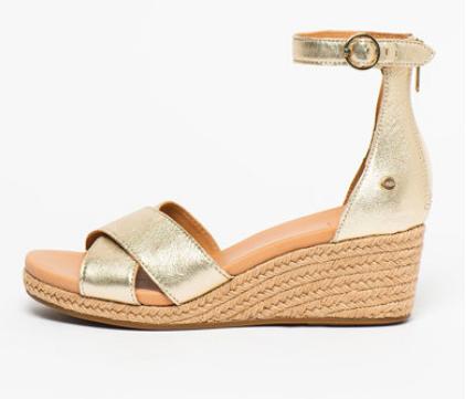 Sandale aurii tip espadrilă, cu platformă