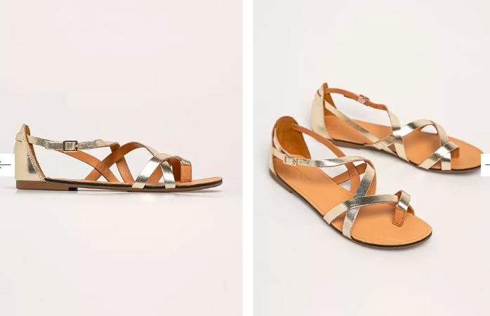 Vagabond - sandale aurii din piele, model roman