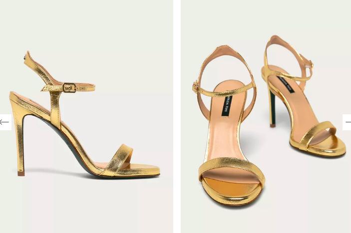 Patrizia Pepe - Sandale aurii din piele naturală cu toc cui stiletto