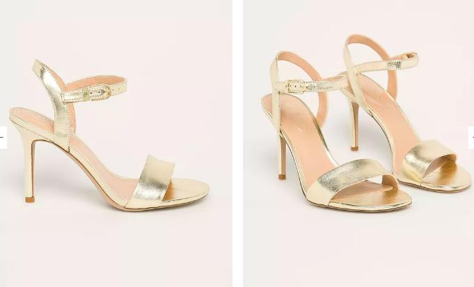 Sandale aurii stiletto din piele
