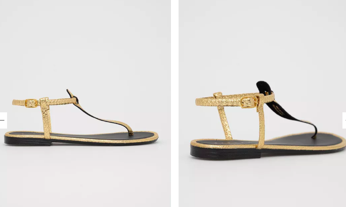 Sandale aurii cu talpă joasa din piele texturată