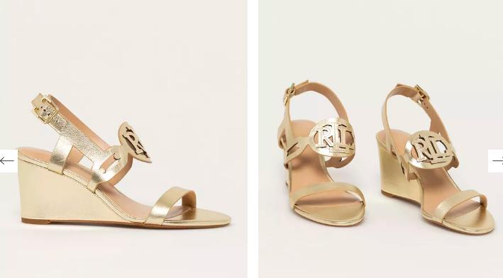 Lauren Ralph Lauren - Sandale aurii din piele