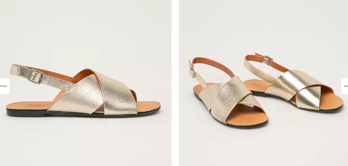Vagabond - Sandale aurii din piele naturală cu talpă joasă