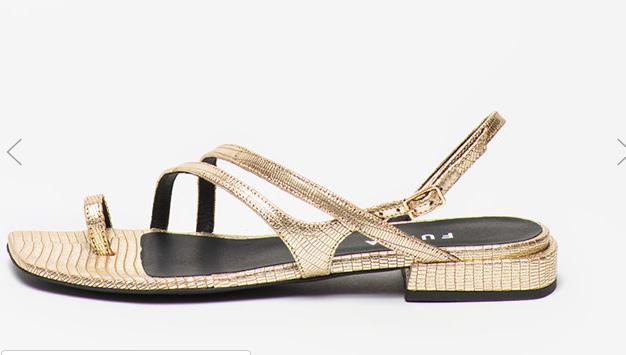 Sandale aurii cu talpă joasă aspect metalizat Furla