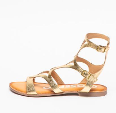 Sandale aurii romane piele naturală cu barete pe gleznă