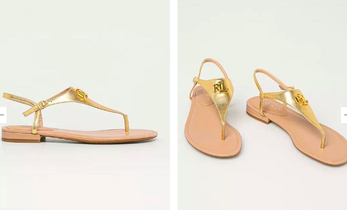 Lauren Ralph Lauren - Sandale aurii de piele