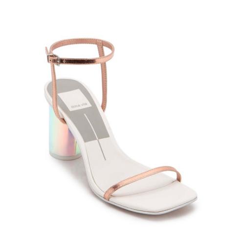 Sandale aurii cu barete ultra subțiri și toc curcubeu