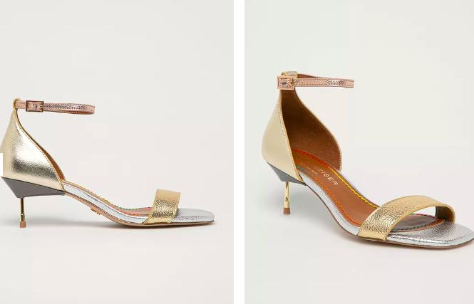 Kurt Geiger London - Sandale aurii de piele cu toc subțire mediu