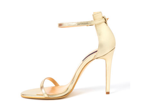 Sandale aurii stiletto de piele cu baretă pe gleznă
