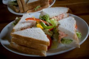 Sandwich cu somon si ceapa verde
