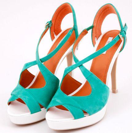 Sandale din piele nabuc turcoaz