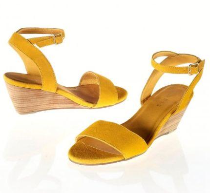 Sandale galbene cu platforma din piele intoarsa