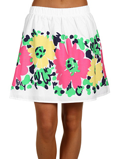Fusta clos alba cu flori colorate pictate Lilly Pulitzer Briar Skirt