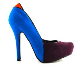 Pantofi albastru intens + rosu si indigo