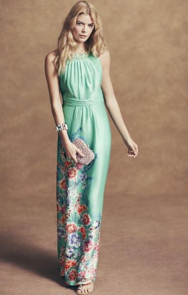 Rochie maxi cu imprimeu floral partial