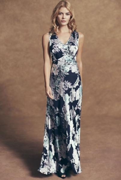 Rochie maxi cu imprimeu floral argintiu