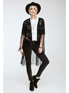Kimono negru dantelat