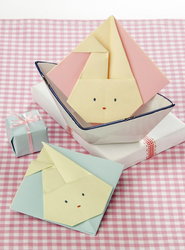 Felicitari pentru copii in forma de iepurasi origami