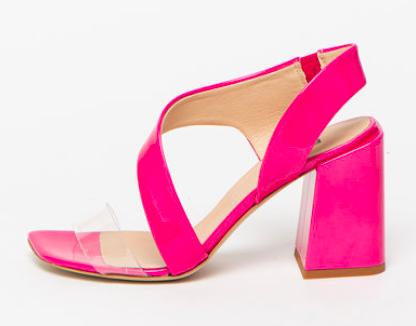 Sandale roz fuxia din piele naturală, cu inserții, Furla