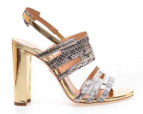 CHELSEA PARIS - sandale cu toc auriu