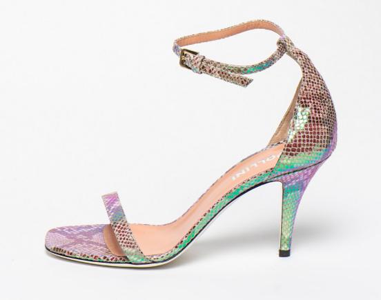 Pollini, Sandale de piele multicolore cu toc înalt
