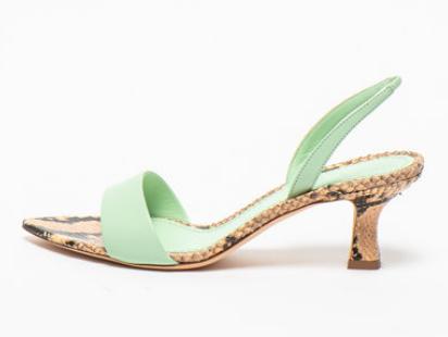 3JUIN - Sandale slingback de piele cu detalii cu aspect de piele de șarpe Orchid