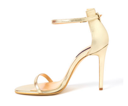 Traces of Heels - Sandale aurii stiletto de piele cu baretă pe gleznă