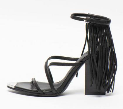 ASH - Sandale din piele cu franjuri negre Icon