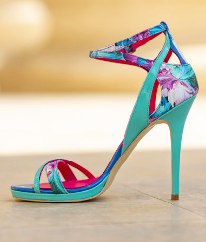 CONDUR by alexandru - Sandale stiletto de piele, model floral, albastre - Gala