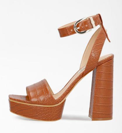 Guess - Sandale de piele ecologică cu toc înalt și masiv