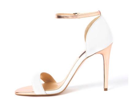 Traces of Heels - Sandale albe de piele cu toc înalt