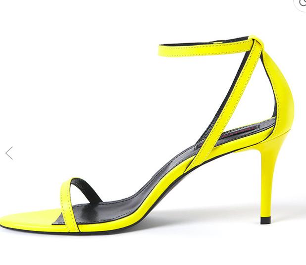 Traces of Heels - Sandale galben neon de piele cu toc și barete multiple